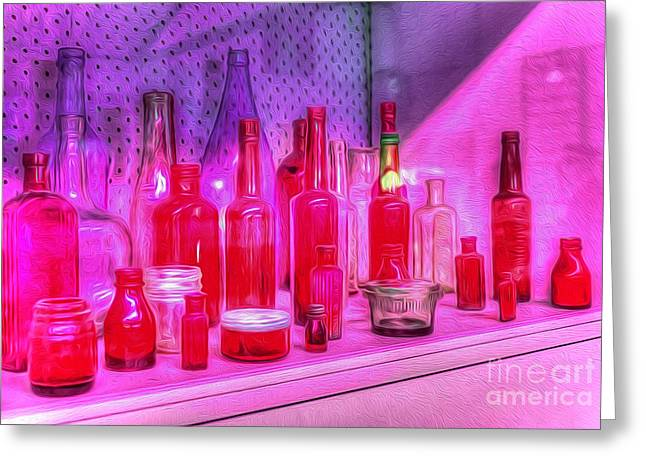 Shades Of Red Greeting Cards - Pink and Red Bottles Greeting Card by Kaye Menner