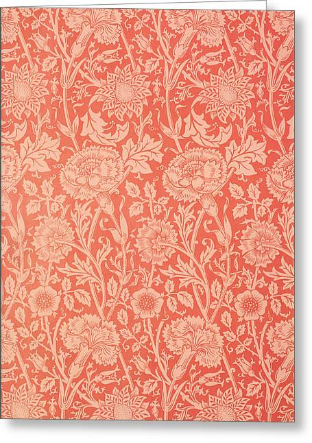 Leaves Tapestries - Textiles Greeting Cards - Pink and Rose Wallpaper design Greeting Card by William Morris