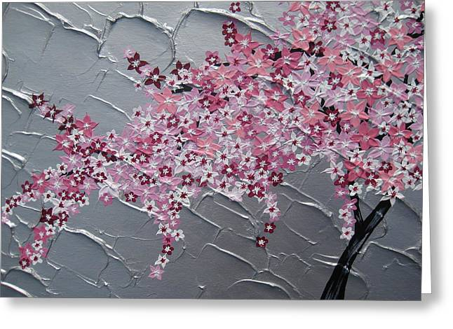 Catherine Mixed Media Greeting Cards - Pink and white cherry blossom Greeting Card by Cathy Jacobs