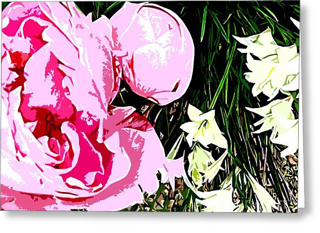 Fine Mixed Media Greeting Cards - Pink And White Flowers Greeting Card by Patrick J Murphy