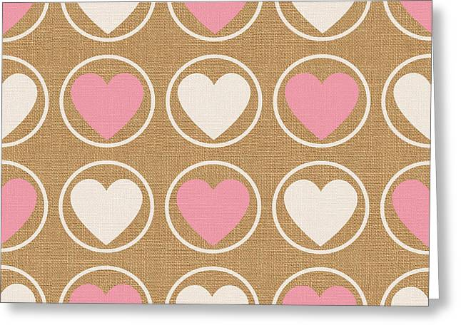 Pink Heart Greeting Cards - Pink and White Hearts Greeting Card by Linda Woods