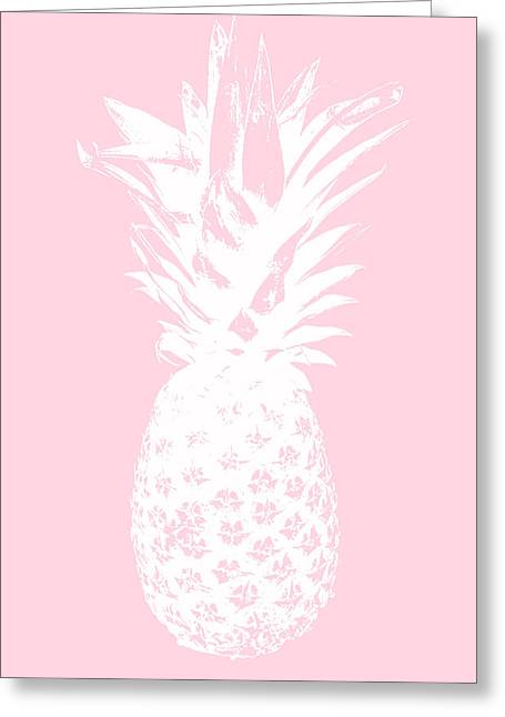 Pink And White Pineapple Greeting Card by Linda Woods