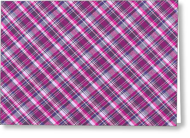 Checked Tablecloths Photographs Greeting Cards - Pink and White Plaid Fabric Background Greeting Card by Keith Webber Jr