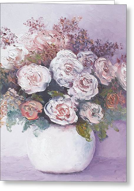 Vase Of Flowers Greeting Cards - Pink and white roses Greeting Card by Jan Matson