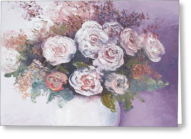 Pink and white roses Greeting Card by Jan Matson