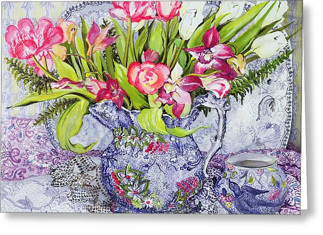 Table-cloth Greeting Cards - Pink and White Tulips Orchids and Blue Antique China Greeting Card by Joan Thewsey