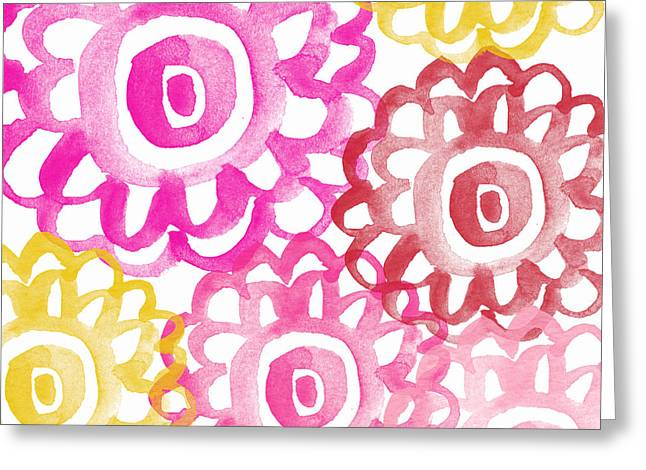 Teen Greeting Cards - Pink and Yellow Flowers- painting Greeting Card by Linda Woods