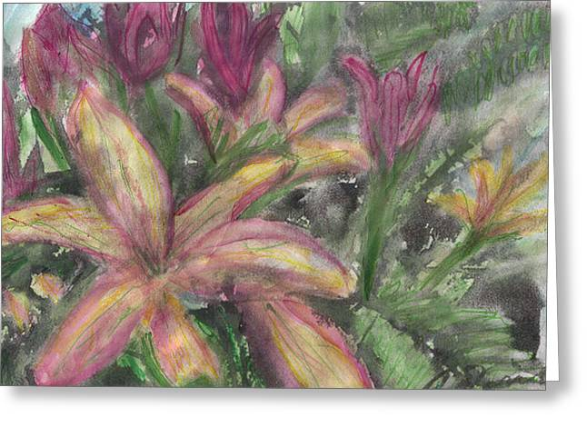 Day Lilly Paintings Greeting Cards - Pink and yellow Lillies Greeting Card by Debbie Wassmann