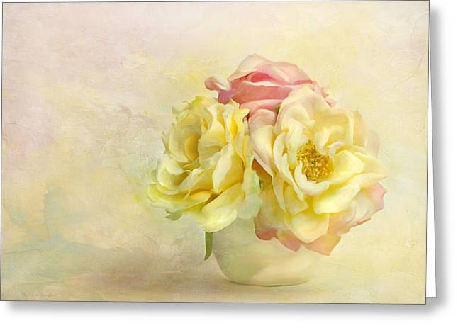 Paint Effect Greeting Cards - Pink And Yellow Roses Greeting Card by Theresa Tahara