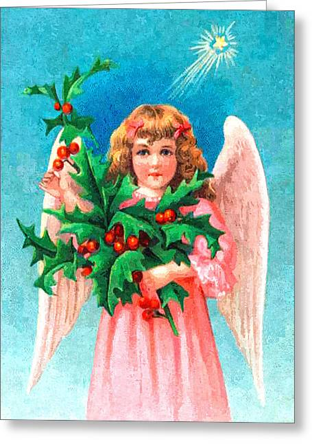 Angel Blues Greeting Cards - Pink Angel Greeting Card by Munir Alawi