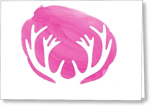 Pink Antlers Greeting Card by Marion De Lauzun