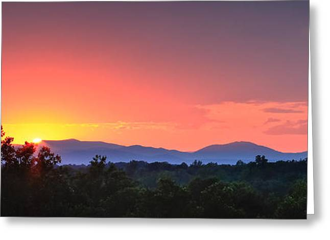 Pink Arc Above The Blue Ridge Greeting Card by Nathaniel Kidd