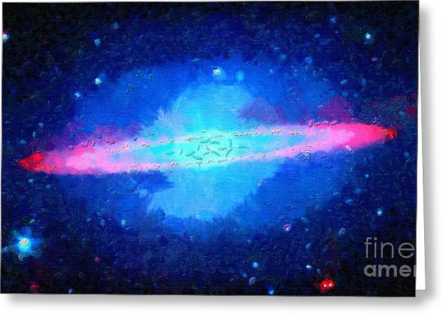 Outer Space Paintings Greeting Cards - Pink area around star Greeting Card by Magomed Magomedagaev