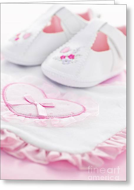 Baby Shower Greeting Cards - Pink baby girl clothes Greeting Card by Elena Elisseeva