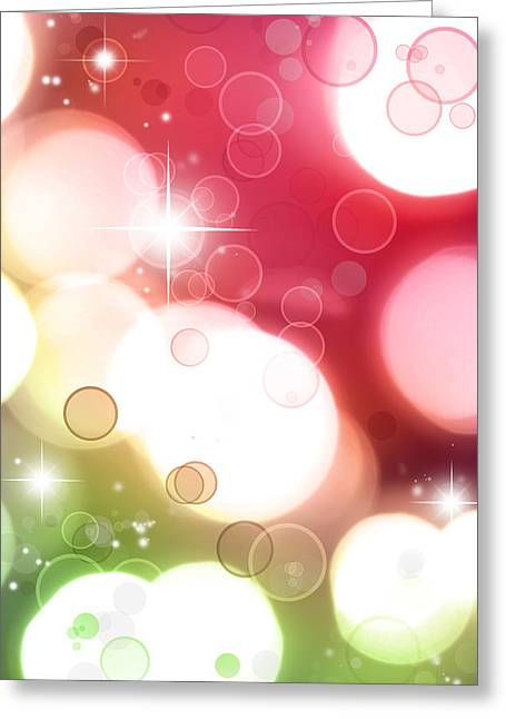 Christmas Star Greeting Cards - Pink background Greeting Card by Les Cunliffe
