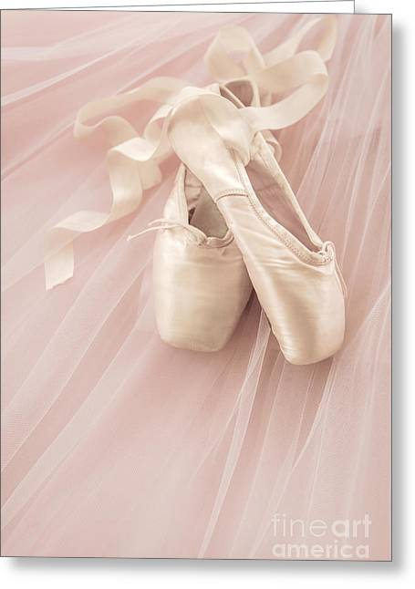 Ballet Shoes Greeting Cards - Pink Ballet Shoes Greeting Card by Diane Diederich