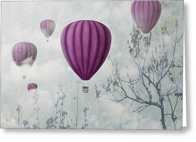 Abstract Images Mixed Media Greeting Cards - Pink Balloons Greeting Card by Jelena Jovanovic