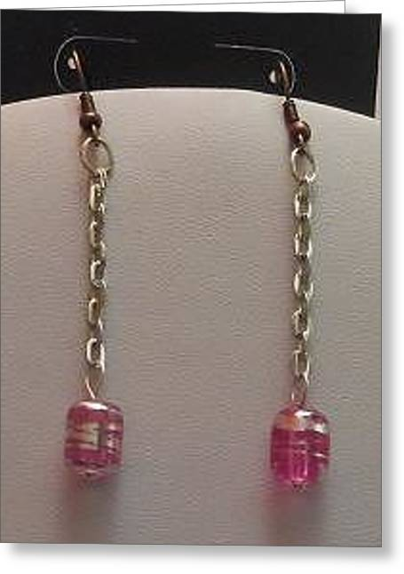 Barrel Jewelry Greeting Cards - Pink Barrel Silver Dangle Earrings Greeting Card by Kimberly Johnson