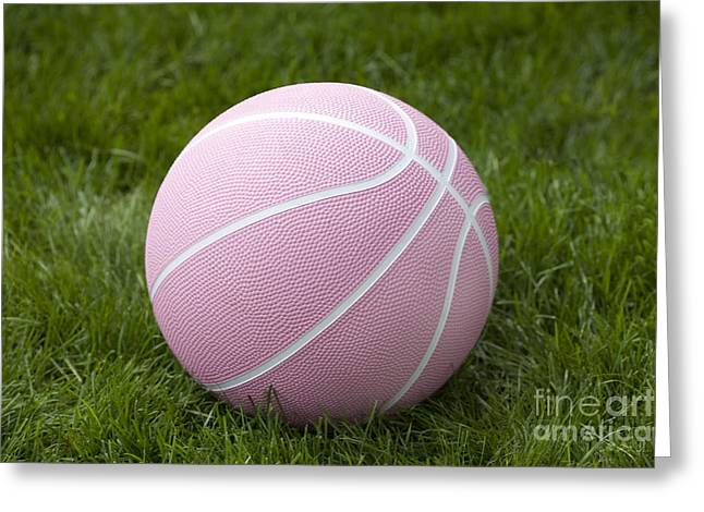 Girl Sports Greeting Cards - Pink Basketball Greeting Card by Iris Richardson