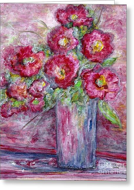 Watercolor Greeting Cards - Pink Beauties in a Blue Crystal Vase Greeting Card by Eloise Schneider