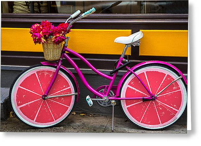 Handlebar Greeting Cards - Pink bike Greeting Card by Garry Gay