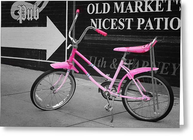 Urban City Areas Greeting Cards - Pink Bike Greeting Card by Nikolyn McDonald