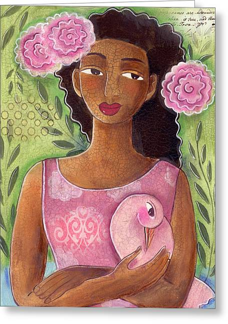 Pensive Mixed Media Greeting Cards - Pink Bird Greeting Card by Elaine Jackson