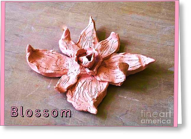 Posters Ceramics Greeting Cards - Pink Blossom in Ceramics Greeting Card by Joan-Violet Stretch