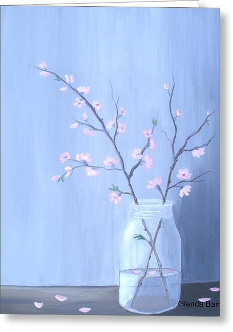 Water Jars Paintings Greeting Cards - Pink Blossoms Greeting Card by Glenda Barrett
