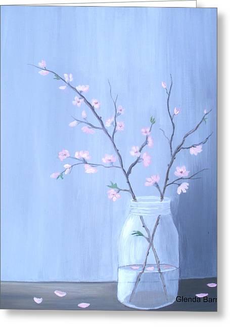 Water Jars Greeting Cards - Pink Blossoms Greeting Card by Glenda Barrett