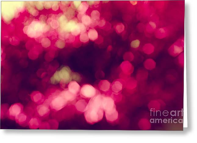 Glow Pyrography Greeting Cards - Pink Bokeh Greeting Card by Jelena Jovanovic