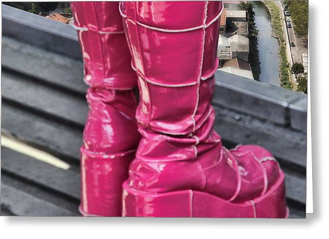 Pink Boots Greeting Card by Jasna Buncic