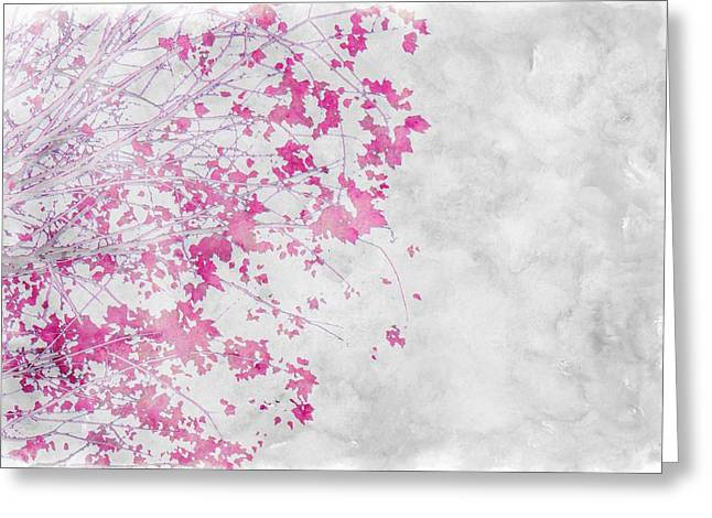 S-layer Greeting Cards - Pink Branches Greeting Card by Cathie Tyler