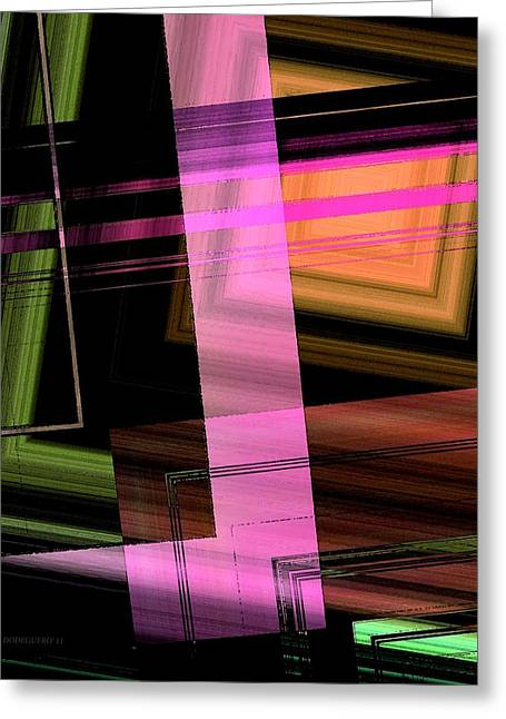 Transparency Geometric Greeting Cards - Pink Brown and Green Abstract Geometric Greeting Card by Mario  Perez