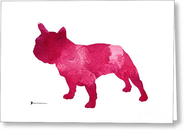 Pink Bulldog Art Print Watercolor Painting Greeting Card by Joanna Szmerdt