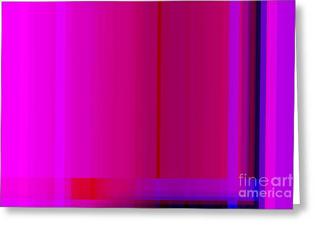Quirky Greeting Cards - Pink Burgundy Purple Lines Abstract Greeting Card by Natalie Kinnear