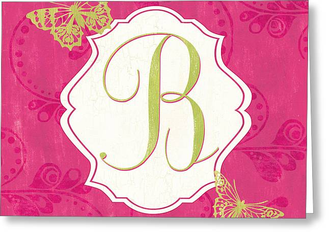 Youthful Greeting Cards - Pink Butterfly Monogram Greeting Card by Debbie DeWitt