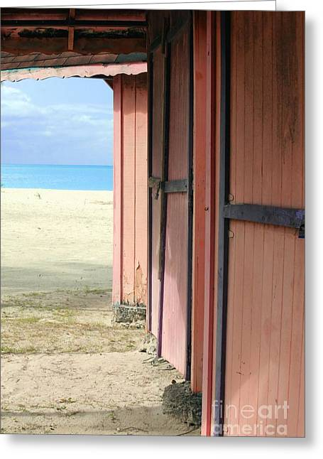 Old Cabins Greeting Cards - Pink Cabins on Beach Greeting Card by Sophie Vigneault
