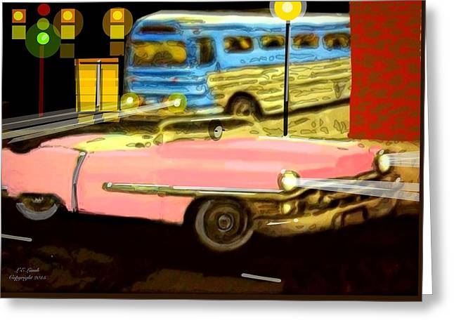 Greyhound Greeting Cards Greeting Cards - Pink Cadillac Greeting Card by Larry Lamb
