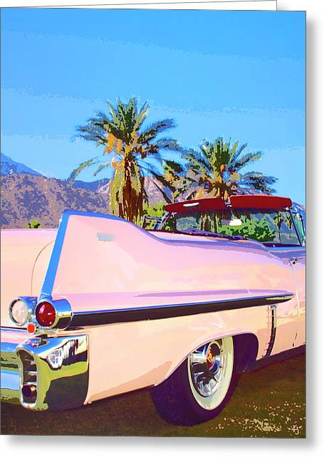 Palm Springs Car Show Greeting Cards - PINK CADILLAC Palm Springs Greeting Card by William Dey