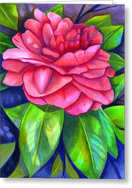 Pink Flower Branch Paintings Greeting Cards - Pink Camellia Greeting Card by Elaine Hodges