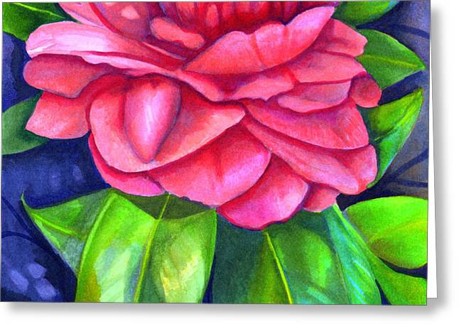 Pink Camellia Greeting Card by Elaine Hodges