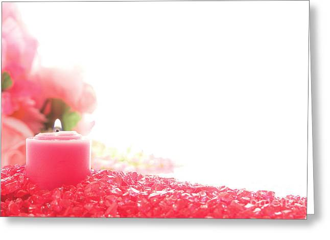 Votive Candles Greeting Cards - Pink Candle on Crystal  Greeting Card by Olivier Le Queinec