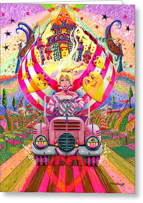 Best Sellers -  - Flower Pink Fairy Child Greeting Cards - Pink Car Angel Greeting Card by Jacquelin Vanderwood
