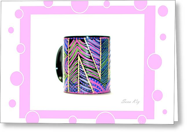 Cheer On Glass Art Greeting Cards - Pink Card Greeting Card by Oksana Semenchenko