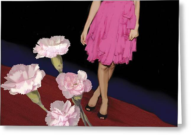 Woman Standing Greeting Cards - Pink Carnations, 2008 Greeting Card by Marjorie Weiss