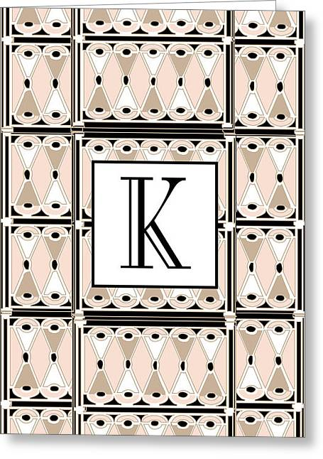 Jazzy Greeting Cards - Pink Champagne Gatsby Monogram  K Greeting Card by Cecely Bloom