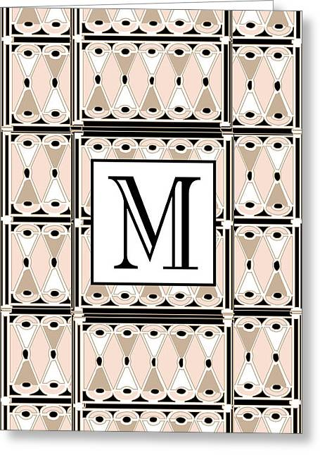 Jazzy Greeting Cards - Pink Champagne Gatsby Monogram  M Greeting Card by Cecely Bloom