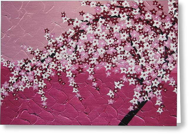 Cherry Blossoms Mixed Media Greeting Cards - Pink Cherry Blossom Greeting Card by Cathy Jacobs