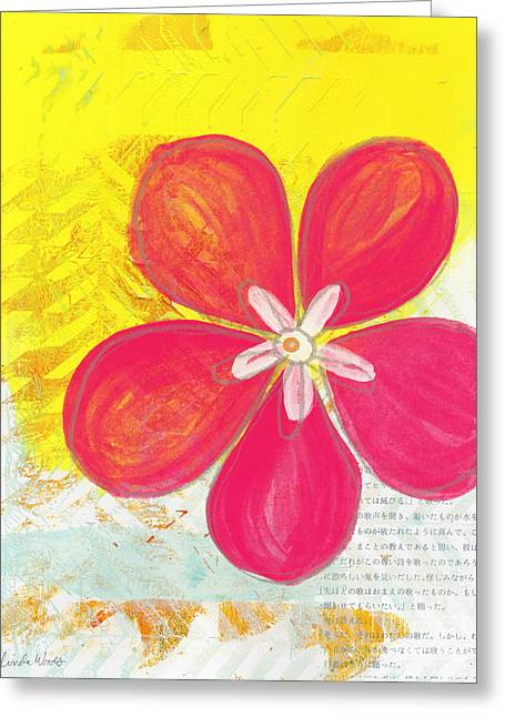 Arrow Abstract Greeting Cards - Pink Cherry Blossom Greeting Card by Linda Woods